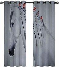 Kids Blackout Curtains Horses animals flowers