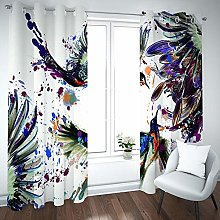 Kids Blackout Curtains Hummingbird animal painting