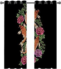 Kids Blackout Curtains Koi flowers Thermal