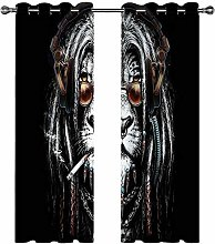 Kids Blackout Curtains Lion animal black and white