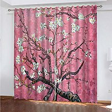 Kids Blackout Curtains Pink flower branch Thermal