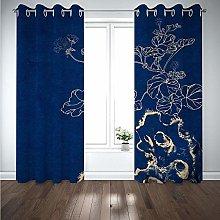 Kids Blackout Curtains Plant dark blue Thermal