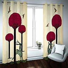 Kids Blackout Curtains Red tree Thermal Insulated