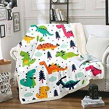 Kids Blanket Boys Girls Cartoon Dinosaur Print