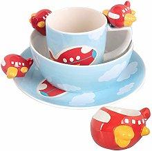 Kids Blue Plane Plate Bowl Mug Egg Cup Se