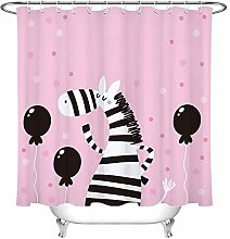 Kids Cartoon Zebra Unicorn Shower Curtain Balloon