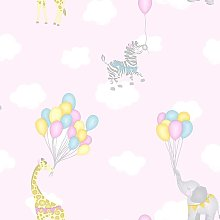 Kids Childrens Animal Balloons Playroom Wallpaper