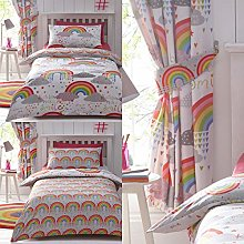 Kids Club Clouds and Rainbows Curtains, White, 66