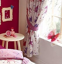 Kids Club Lined Curtains Pencil Pleat Style - Pink