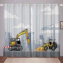 Kids Construction Blackout Curtains Child Boys