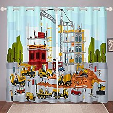 Kids Curtain Child Boys Girls Cartoon Construction