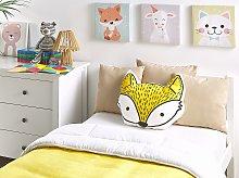 Kids Cushion Yellow Cotton 50 x 40 cm Fox Shape Decorative Children Room Animal Print