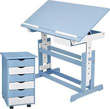 Kids desk + filing cabinet - blue