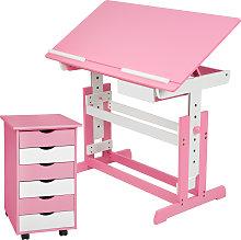 Kids desk + filing cabinet - rose