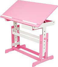 Kids desk with drawer - pink