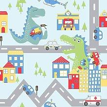 Kids Dinosaur Road Cars Nursery Wallpaper - Blue /
