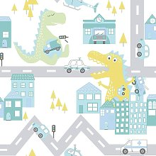 Kids Dinosaur Road Cars Nursery Wallpaper - Teal /