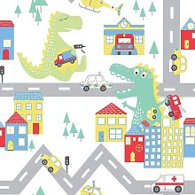 Kids Dinosaur Road Cars Nursery Wallpaper - White