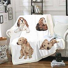Kids Dog Printed Plush Blanket Cute Pet Dog Sherpa