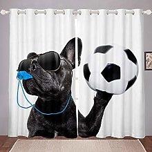 Kids Dog Printed Window Treatments Cute Black Pug