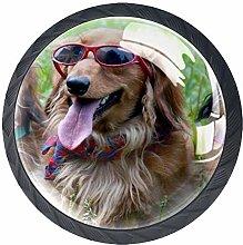 Kids Drawer Knobs Pulls Dog with Glasses Handles