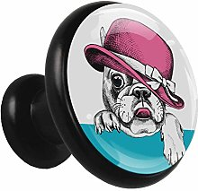 Kids Drawer Knobs Pulls Funny Puppy with Hat Metal