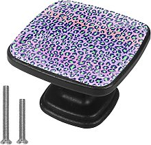 Kids Drawer Knobs Pulls Purple Leopard Handles for