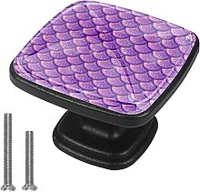 Kids Drawer Knobs Pulls Purple Scales Handles for