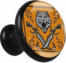 Kids Drawer Knobs Pulls Wolf Knife Metal Black