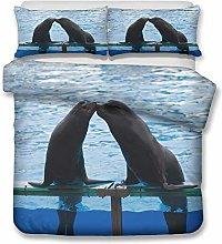 Kids Duvet Cover Set Animal 3D Polar Bear Dolphin