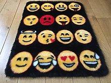 Kids Faux Fur Sheepskin Multi Emoji Rug (black)