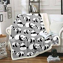 Kids Fleece Blankets Cartoon Panda Print Blanket