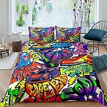 Kids Graffiti Duvet Cover Set Hippie Style Bedding
