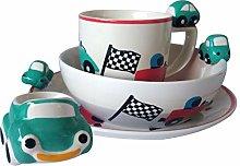Kids Green Car Plate Bowl Mug Egg Cup Se