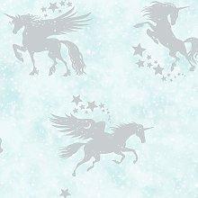 Kids Iridescent Unicorns Stars Metallic Wallpaper