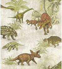 Kids Jurrasic Dinosaurs Wallpaper - Green / Brown