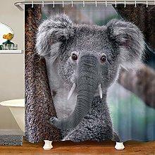 Kids Koala Shower Curtain with Hooks Cartoon Koala