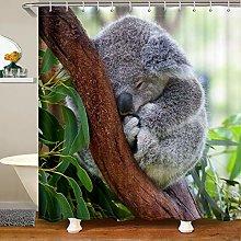Kids Koala Shower Curtain with Hooks Cute Animal