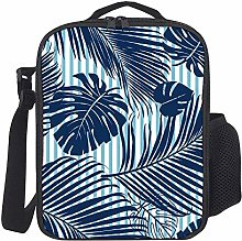 Kids Lunch Box Insulated Summer Navy Blue Tropical