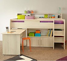 Kids Mid Sleeper Bed Desk, Happy Beds Kurt Acacia