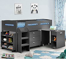 Kids Mid Sleeper Bed, Happy Beds Kimbo Anthracite