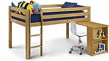Kids Mid Sleeper, Happy Beds Wendy Pine Wood
