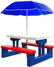 Kids Picnic Table Bench Set Parasol Children