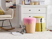 Kids Pouffe Beige and Pink Velvet Upholstered