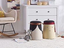 Kids Pouffe Beige Faux Linen Upholstered Footstool