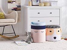 Kids Pouffe Pink Velvet Upholstered Footstool for