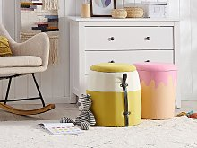 Kids Pouffe Yellow Corduroy Upholstered Footstool