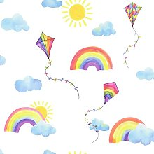 Kids Rainbows and Flying Kites Nursery Wallpaper