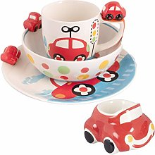 Kids Red Car 2 Plate Bowl Mug Egg Cup Se