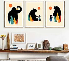 Kids Room Poster Color Bear Poster Art Print Boy